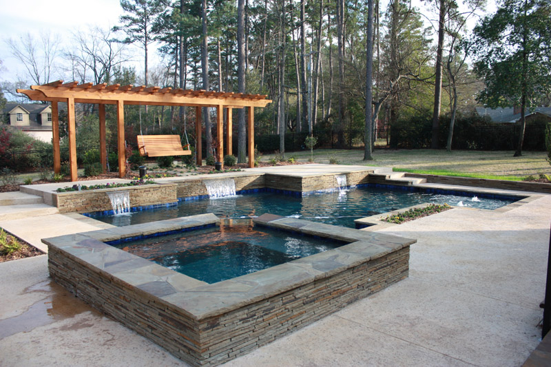 rectangular spa custom built with pool - Rectangle Pool With Spa