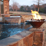 fire and water features with rounded spa