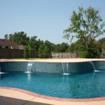 pool with multiple water flat spouts
