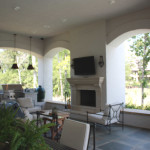outdoor living space including kitchen, seating area, TV and more