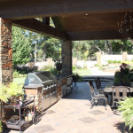 outdoor kitchen with stainless steel grille
