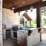 chicago brick outdoor kitchen with stainless steel grille and dish washer