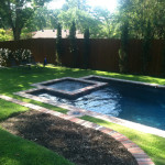rectangular pool with square spa