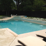 L-shaped pool with spa