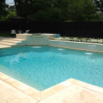 L-shaped pool with higher spa